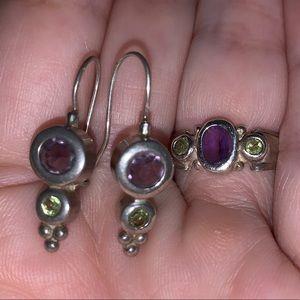 Jewelry - Pretty Peridot & Amethyst Silver Ring & Earrings